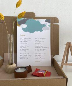 Brievenbus pakket tulpen, troost, huilen, verdriet, bemoedigen, lentezoet, liefsvanlauren.nl