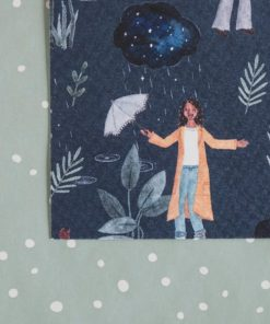 Kaart dansen in de regen, carmens tekentafel, aquarel, handgemaakt, kaartje, tegenslag, moeite, liefsvanlauren.nl