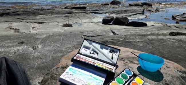 Zweden,Tjörn,Berga,aquarelleren,juni,2016