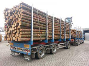 Zweden,vrachtwagen met oplegger vol boomstammen,ongeluk