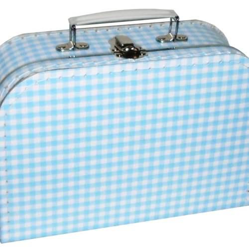 Koffer blauw ruit