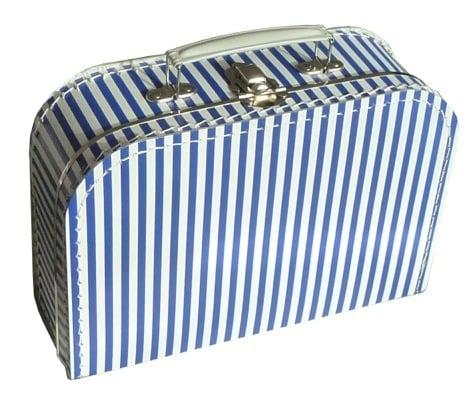Koffer blauw streep