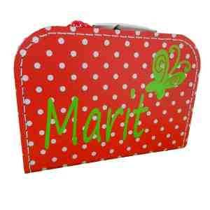 Rood polkadot koffertje met naam