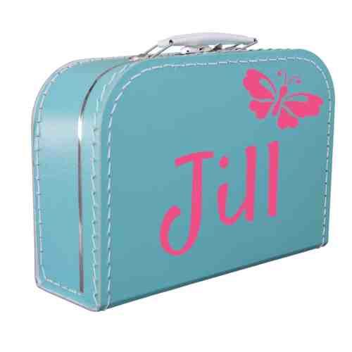 Turquoise koffertje met naam