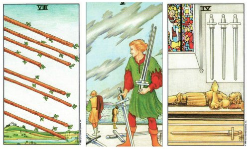 Susy's moving option cards: 8 of Wands, 5 of Swords, and 4 of Swords.