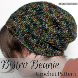 Stitch a comfy new accessory with the Bistro Beanie crochet pattern. Relax in style with this casual slouch hat. A hot cuppa and a good book are optional.