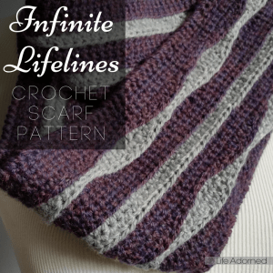 Infinite Lifelines is a looped scarf with cool, wavy stripes. Wear it long or wrap it twice around your neck for extra warmth. Download the crochet pattern.