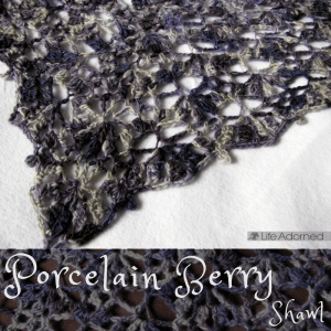 Lena Fedotova's beautiful Porcelain Berry Shawl crochet pattern has options to create a triangular shawl or rectangular scarf in any size.