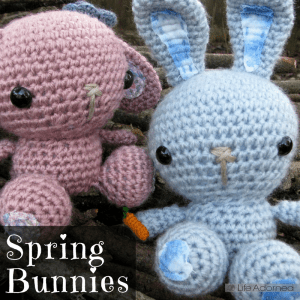 This adorable amigurumi pattern is just right for a small spring project. These bunnies were so much fun to make. Free crochet pattern from All About Ami.