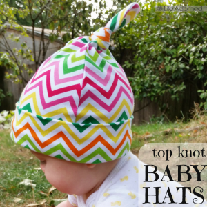 I like sewing projects that are small and quick. I had fun stitching these top knot baby hats using a beginner-friendly tutorial from Make It & Love It.