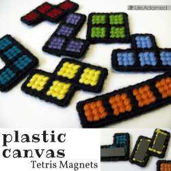 Plastic canvas doesn't seem to be very popular for modern crafters, but it's so versatile and easy to use. This magnet set was a quick and fun project.