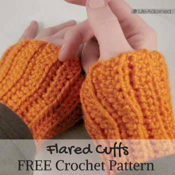 Add a bit of flare to any wardrobe with this free crochet pattern! These colorful little wrist cuffs peek out from under your sleeves.