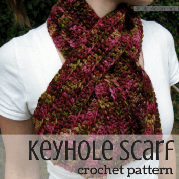 "Ribbed Keyhole Scarf: a quick pattern for a crochet scarf with a ""keyhole"" opening on one end. This cozy accessory stays in place without tying or pinning."