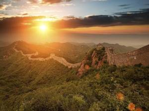 Sunsets Great Wall of China, Jinshanling, China