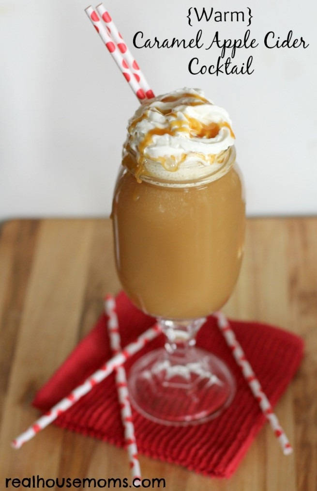 Warm Apple Cider and Caramel Cocktail