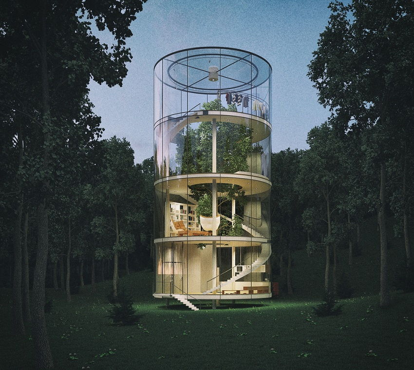 Trehouse of the future- Cylindrical Glass House