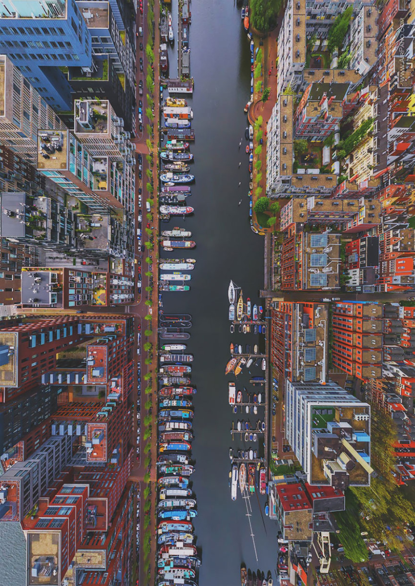The Westerdok District, Amsterdam, Netherlands - bird's-eye view
