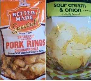 Junk food smack-down: pork rinds vs. potato chips