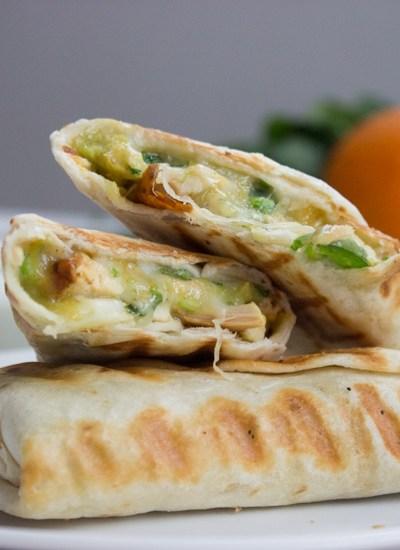Quick and Easy Chicken Burritos with Sour cream Cilantro Sauce