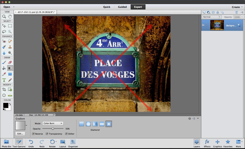 Photoshop Elements Gradient tool Color Burn blend mode