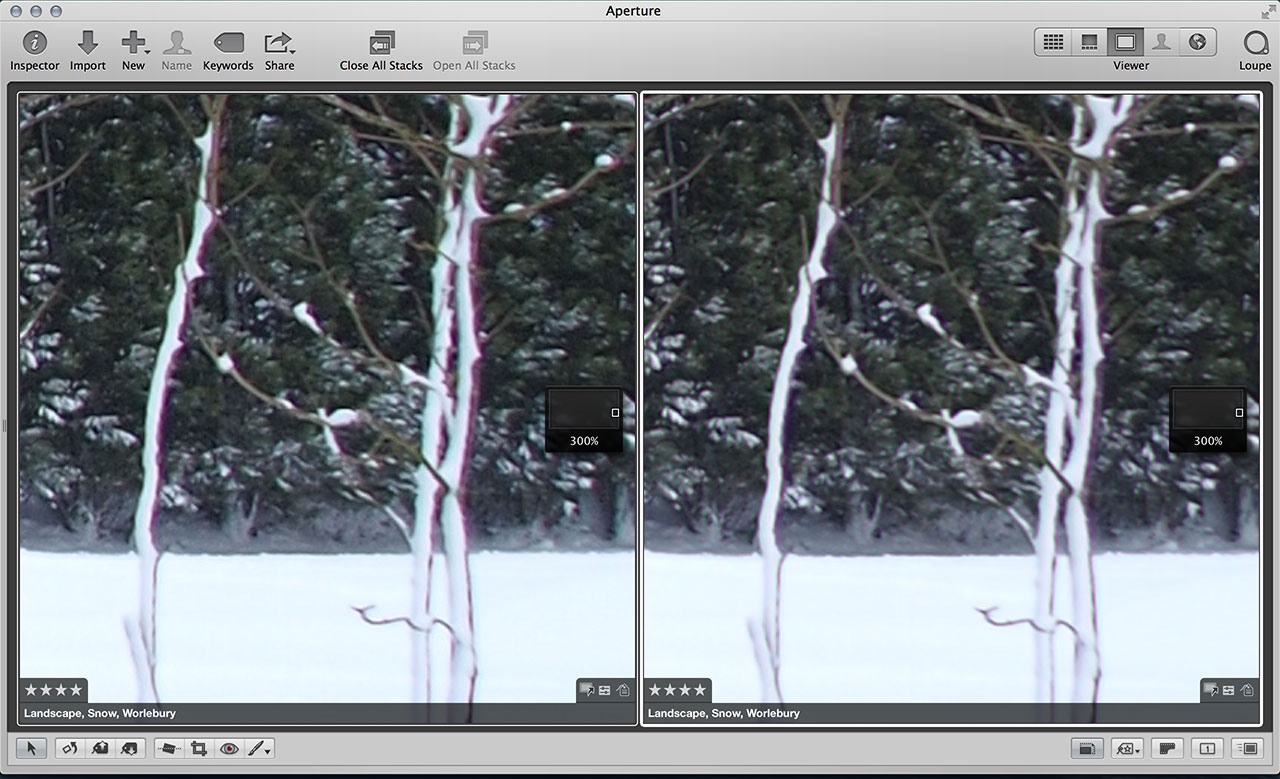 Aperture chromatic aberration correction