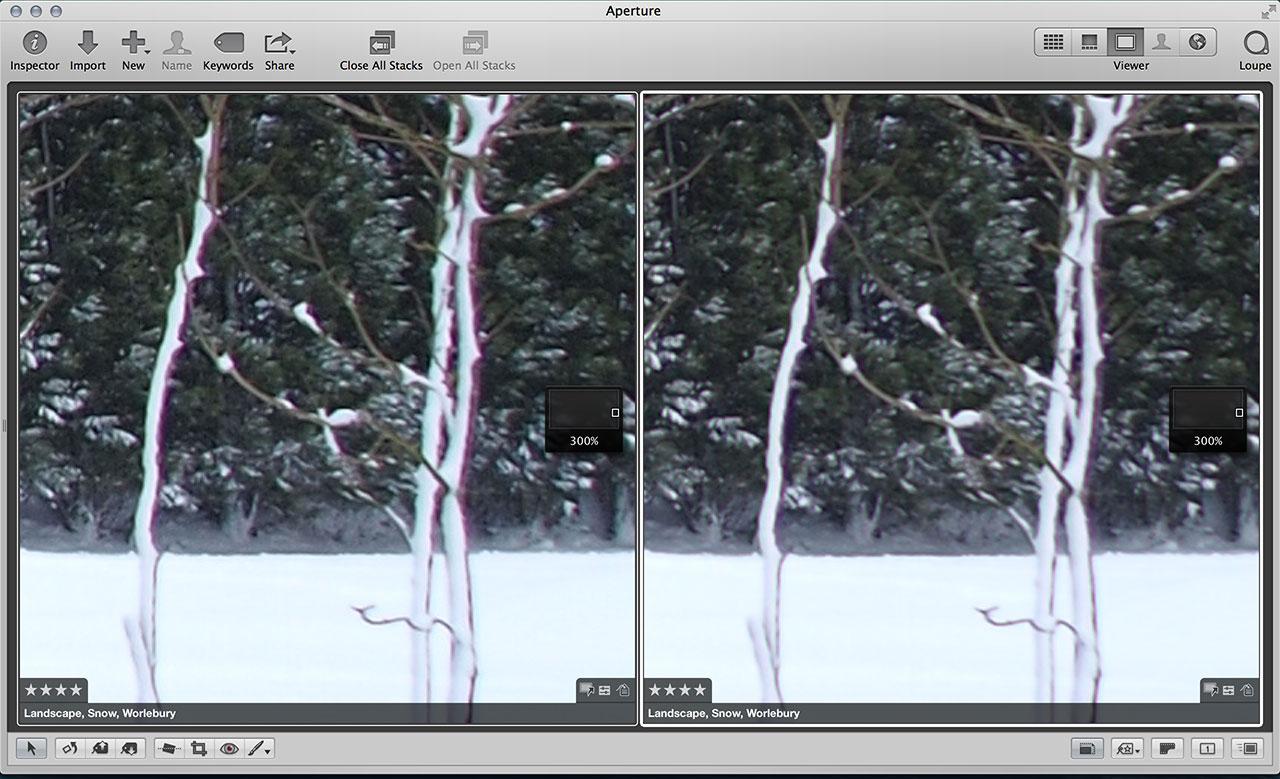 Aperture chromatic aberration correction