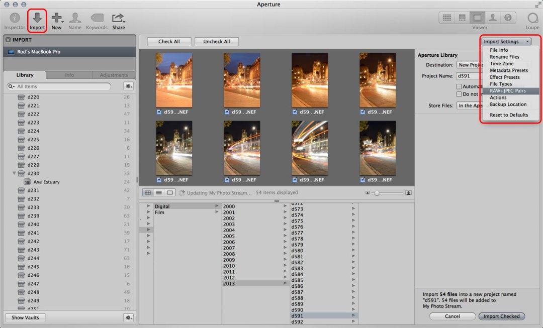 Aperture RAW+JPEG pairs
