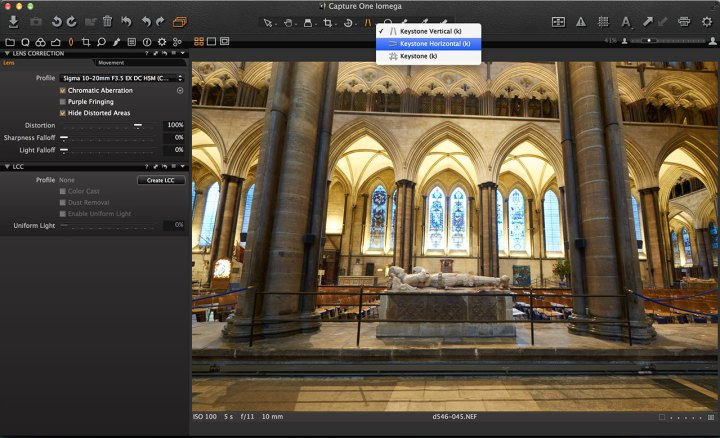 Capture One horizontal keystone correction