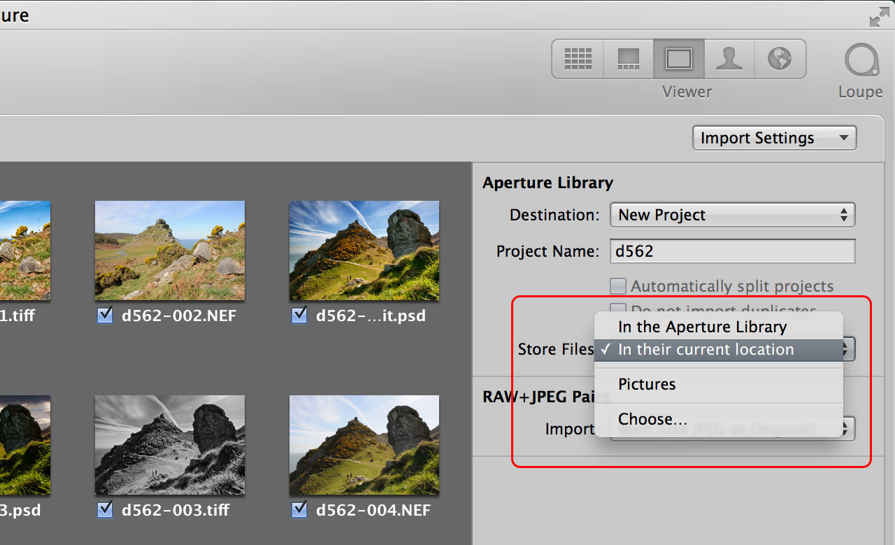 Aperture managed vs referenced files