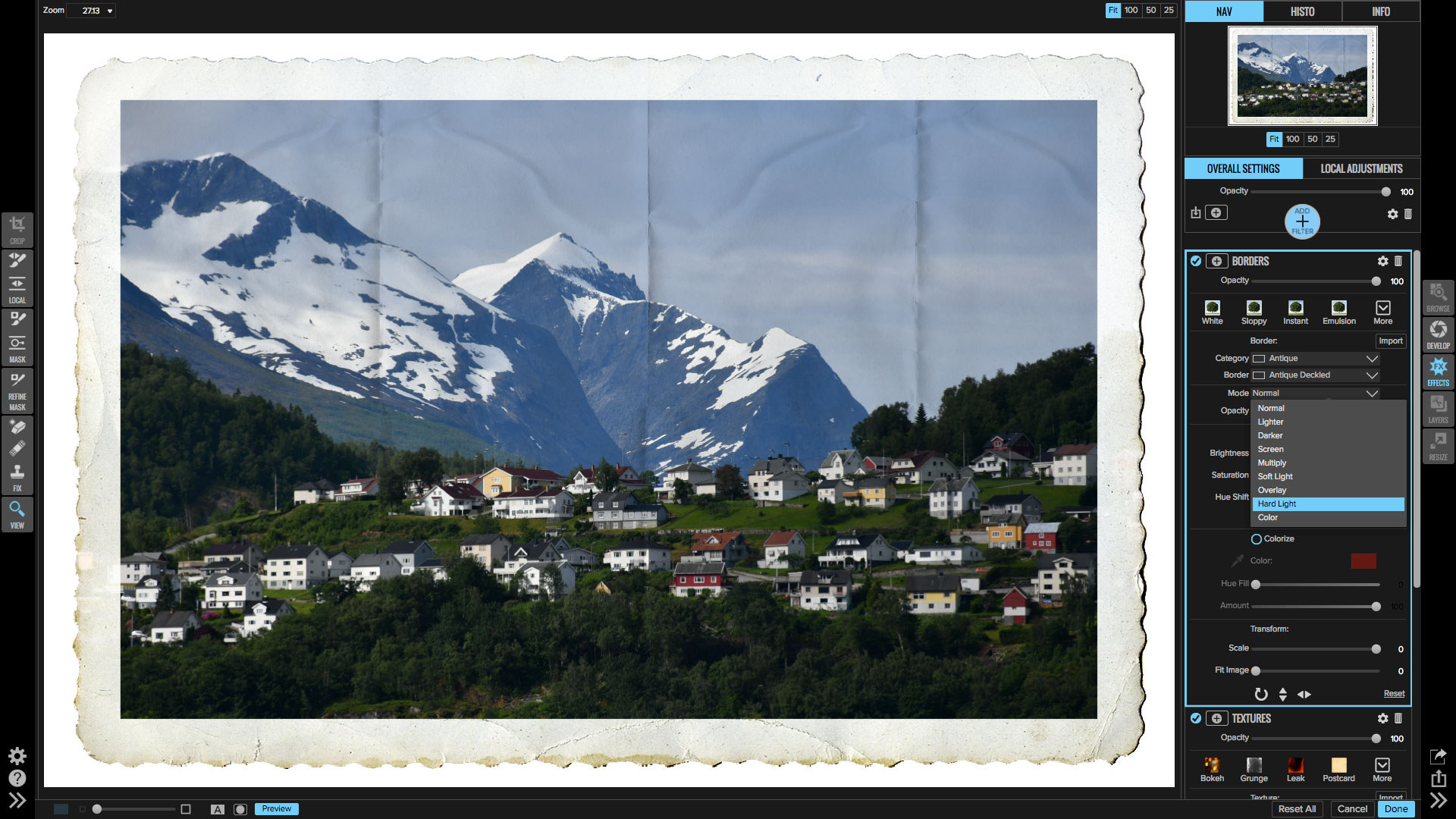 ON1 Photo Texture and Border filters
