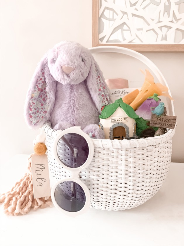 White Easter basket with purple bunny