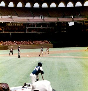 That's Hank Aaron kneeling on deck at Busch II