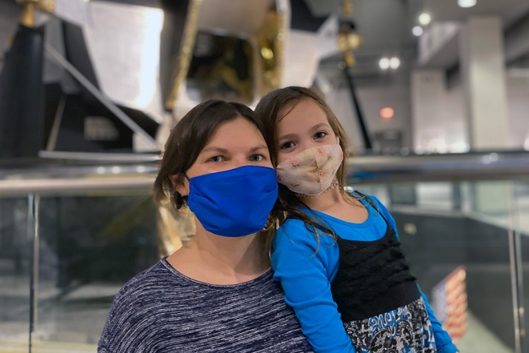 Mother and daughter at the Aerospace exhibit