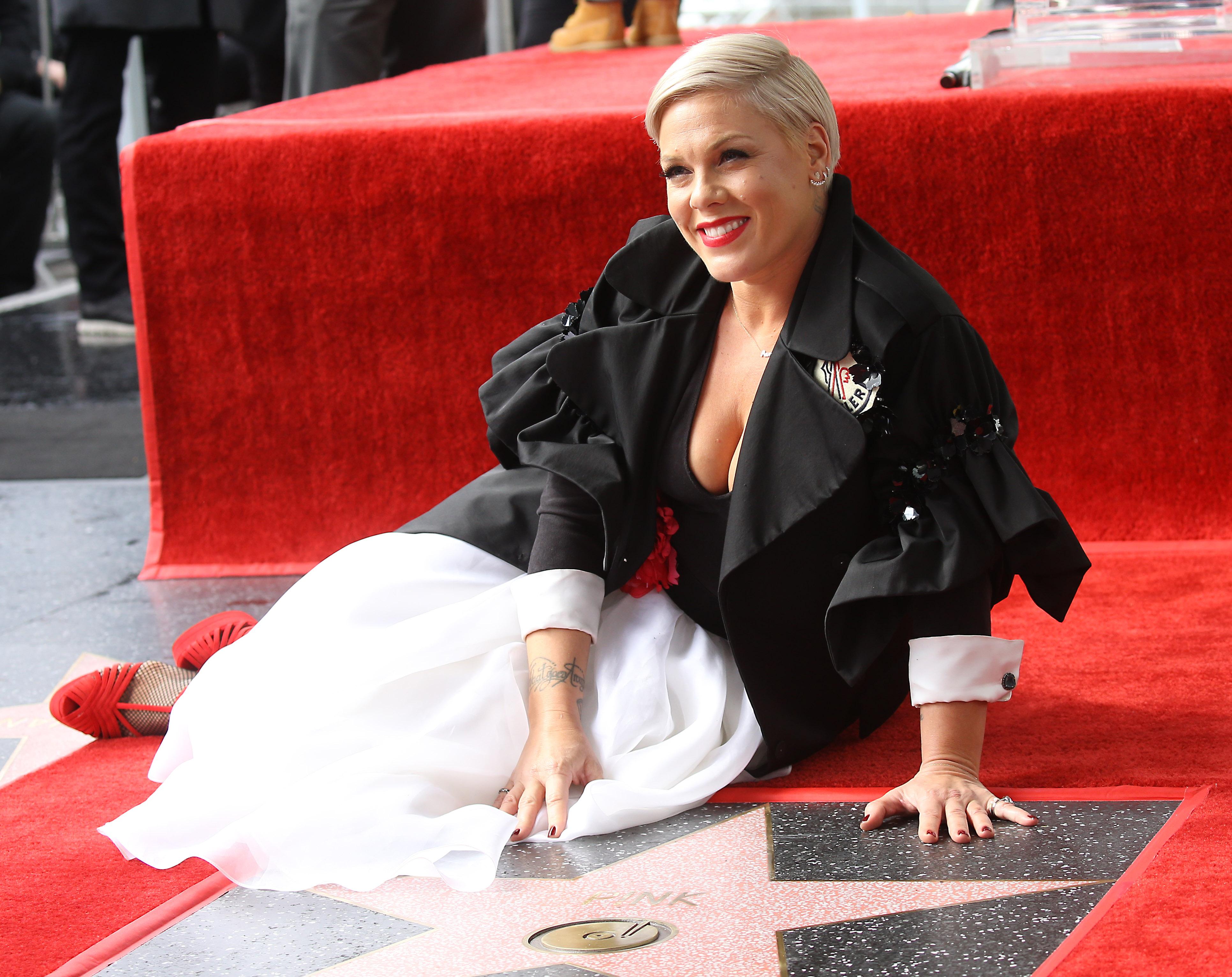 pink at hollywood walk of fame