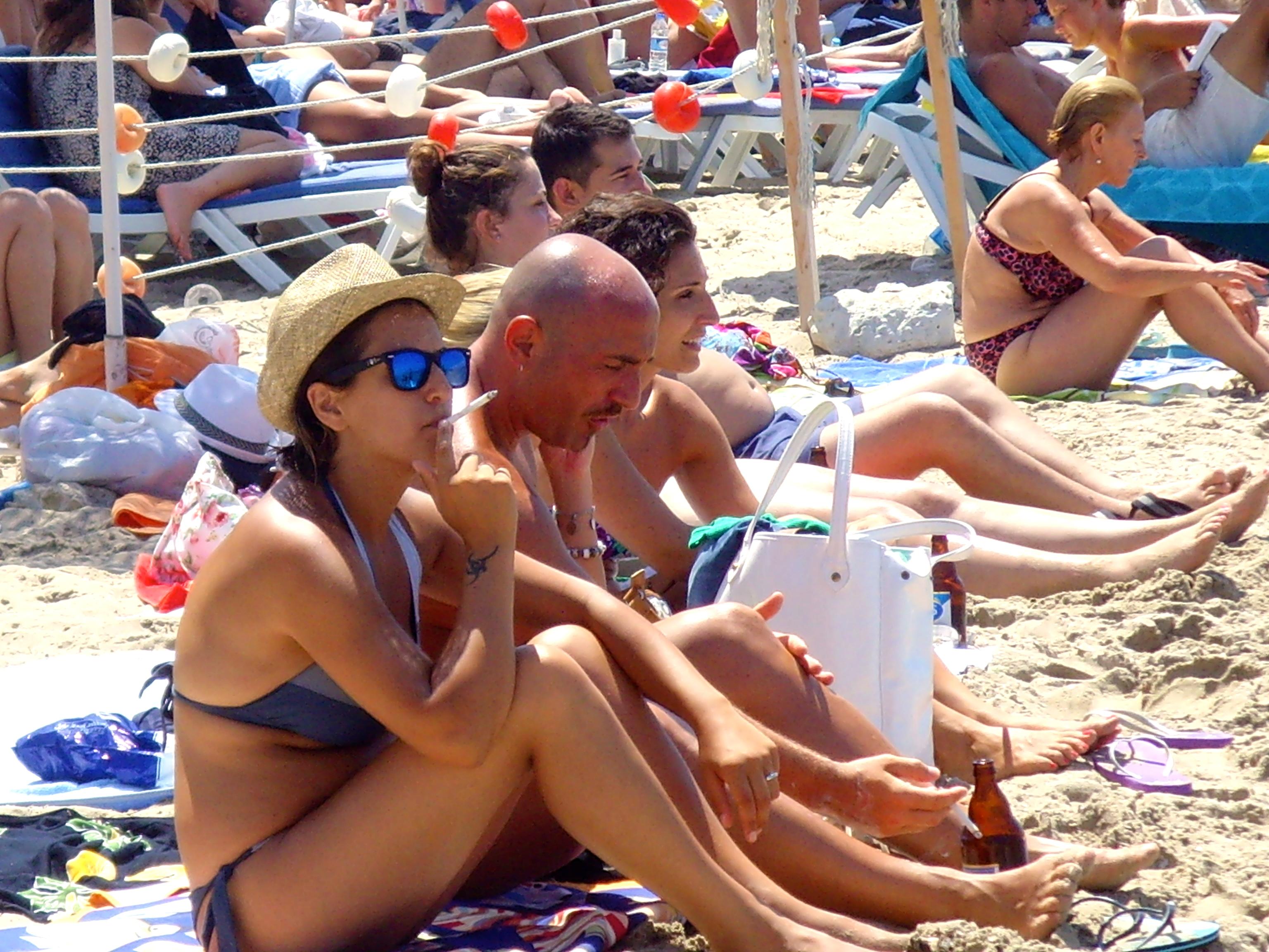 Kusadasi smoking on the beach
