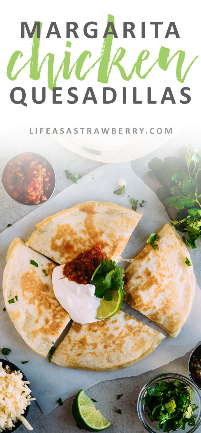 Margarita Chicken Quesadillas - This easy lime and tequila chicken quesadilla recipe is the perfect way to mix up your quesadilla fillings for a fun dinner! Ready in under 30 minutes.