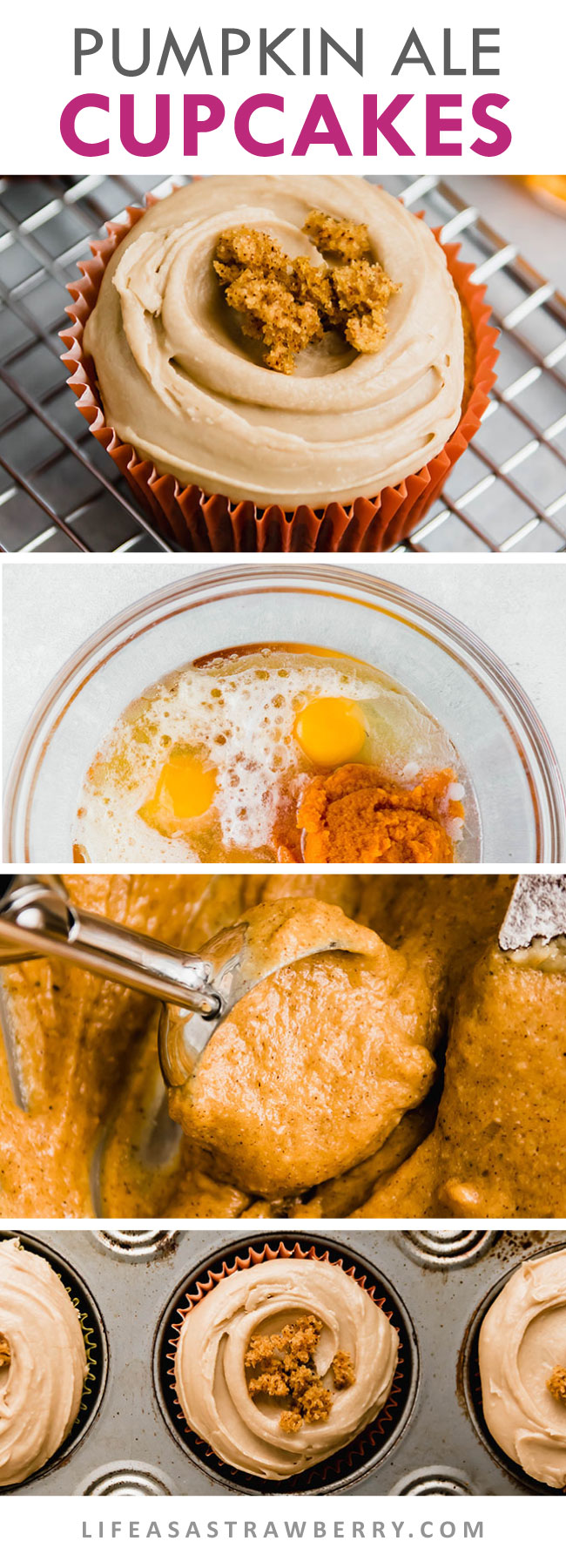 Photo collage showing the steps of making pumpkin cupcakes