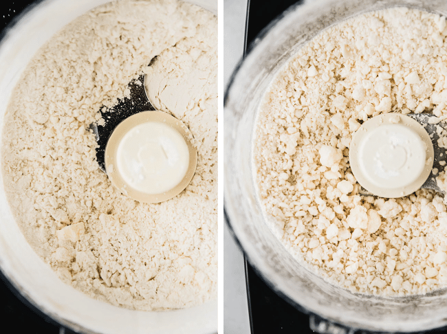 side by side photos of homemade pot pie crust being made in the food processor