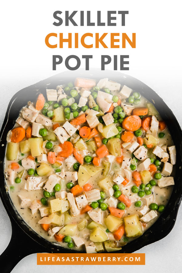 "overhead photo of chicken pot pie filling in a cast iron skillet with text overlay that reads ""skillet chicken pot pie"""