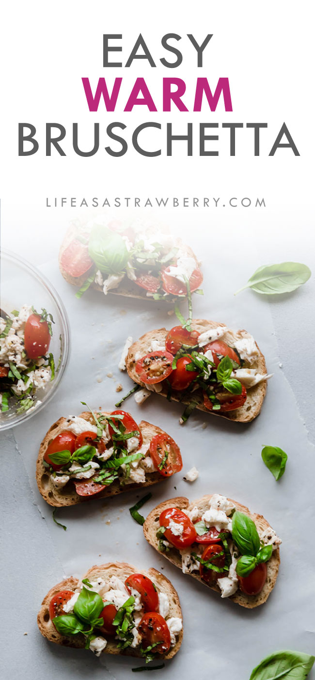 overhead photo of bruschetta with text overlay
