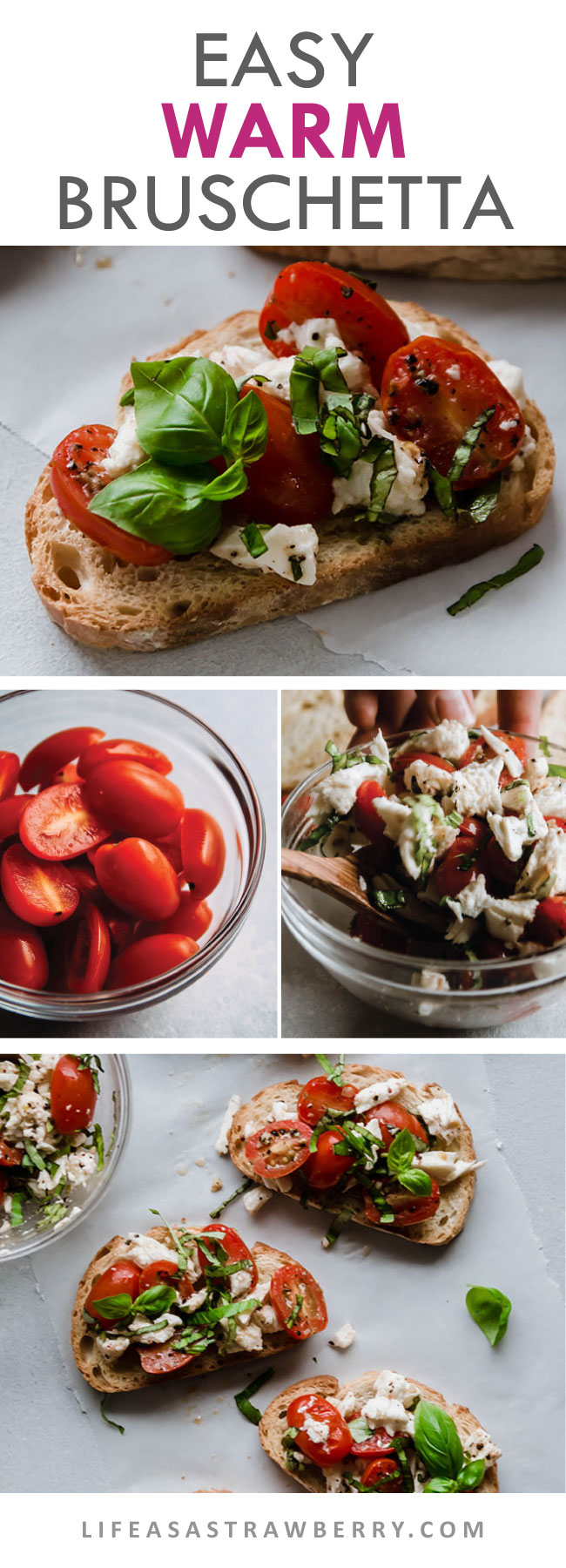 series of how to photos for making bruschetta