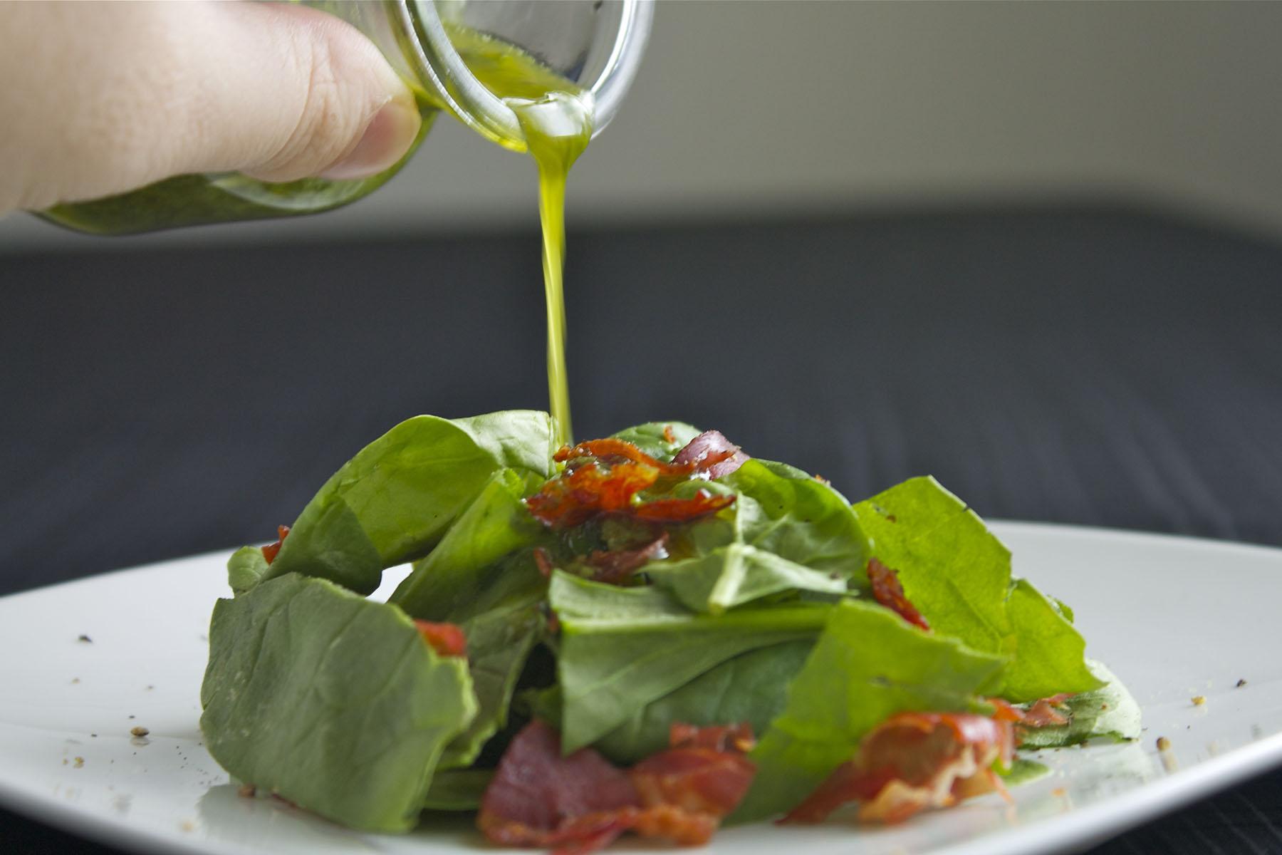 Spinach Prosciutto Salad with Basil Vinaigrette