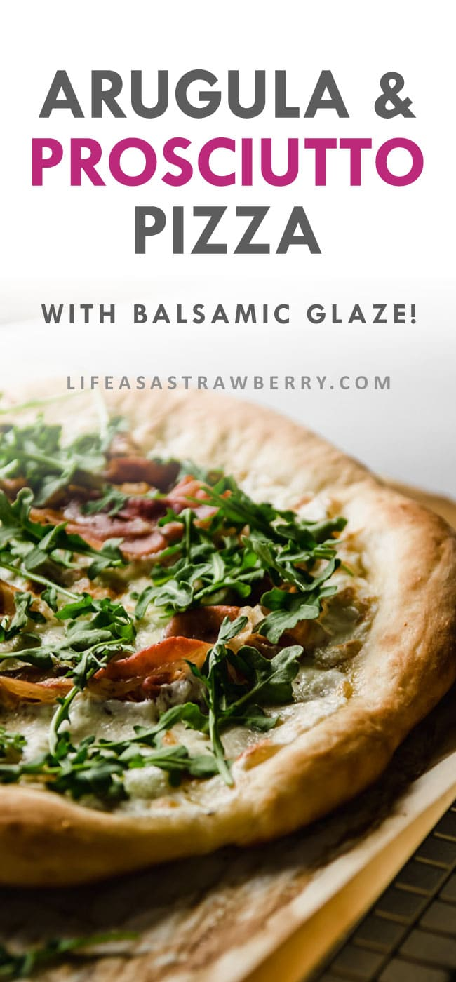 photo of pizza topped with arugula with a text overlay with the recipe title