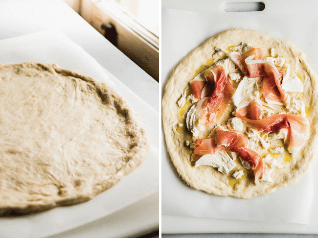 Side by side photographs of pizza dough stretched into shape and then topped with cheese and prosciutto before baking