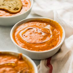 Vegan Roasted Tomato Soup in a white bowl