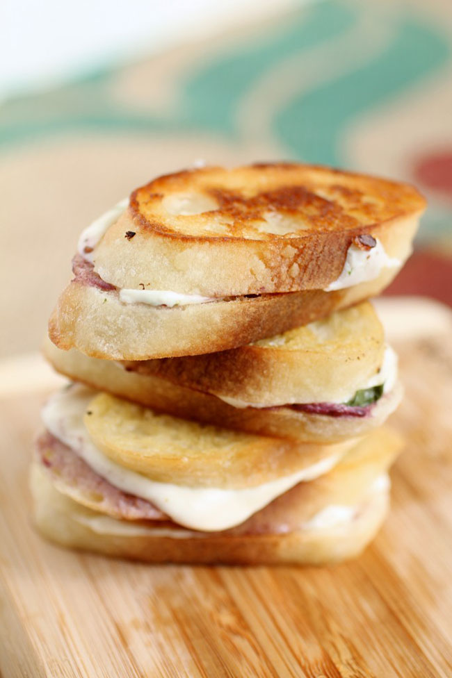 Blackberry Caprese Grilled Cheese Sandwiches | Easy whipped blackberry goat cheese, fresh basil, and melted mozzarella make for a delicious spin on a classic grilled cheese sandwich!