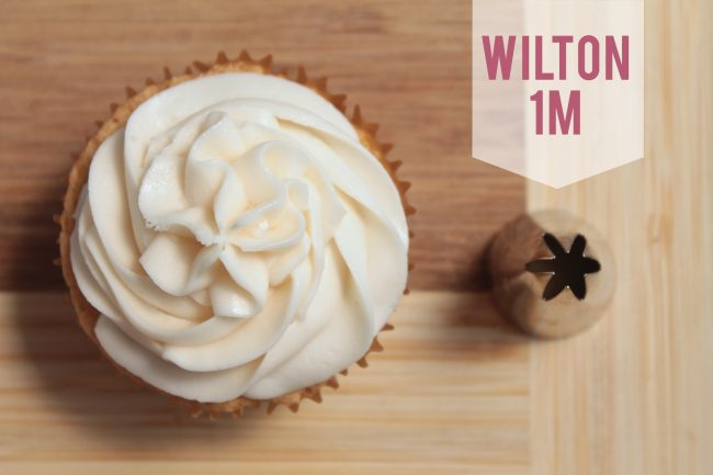 Wilton 1M frosting tip next to a cupcake frosted with that tip.