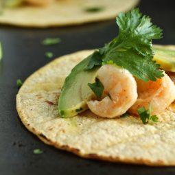 Shrimp, sliced avocado, and fresh cilantro on a corn tortilla.