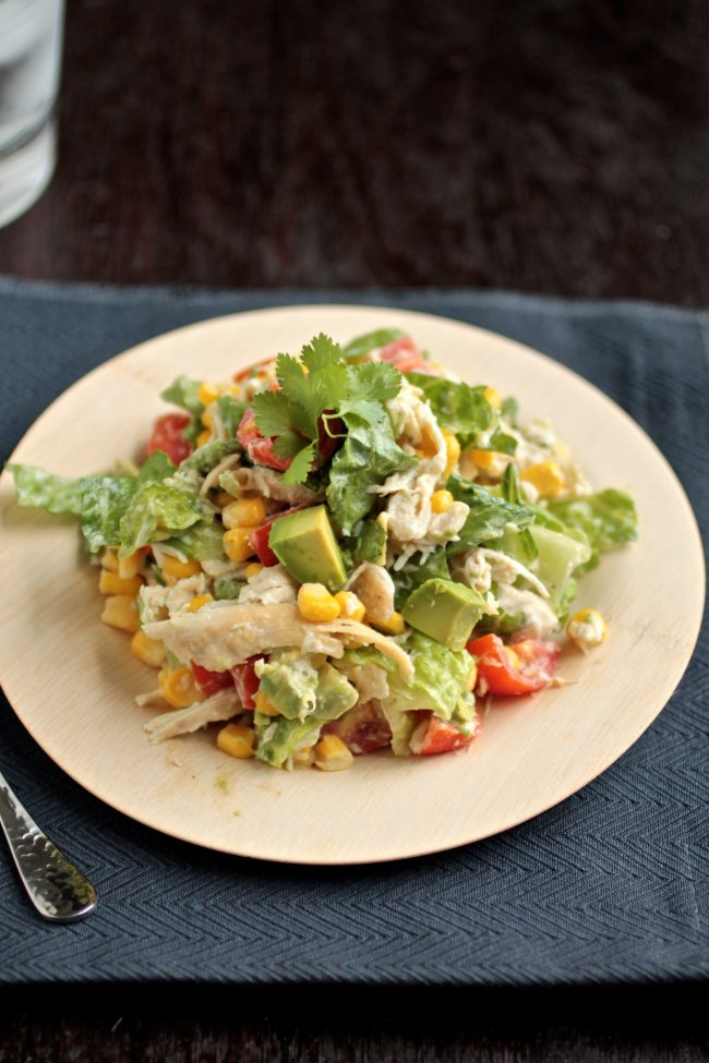 Cilantro Chicken Chopped Salad | This easy, healthy chicken salad recipe is full of protein and vegetables! A quick and simple meal for busy weeknights.