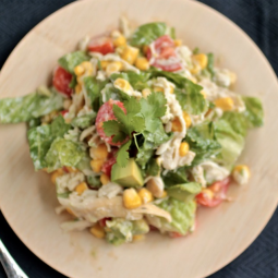 Chicken salad topped with fresh cilantro.